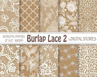 """Burlap Lace Wedding digital paper: """"BURLAP LACE 2"""" White Wedding Vintage Lace Burlap Textured for scrapbooking, invites"""