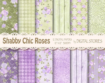 """Shabby Chic Digital Paper:"""" SHABBY LILAC GREEN"""" Floral Vintage Background with roses for scrapbooking, invites, cards"""