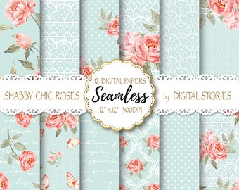 """Shabby Chic Digital Paper """"SHABBY LACE TEAL"""" Floral Seamless, Tileable Background with watercolor roses  for scrapbooking, invitation, cards"""