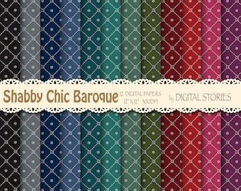 """Shabby Chic Digital Paper: """"SHABBY CHIC BAROQUE"""" Shabby chic background in dark colors for scrapbooking, invites, cards"""
