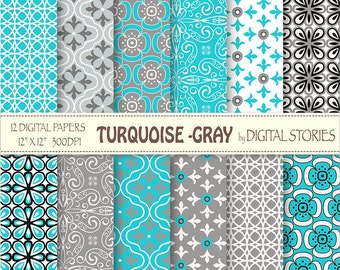 """Turquoise Gray Digital Paper: """"TURQUOISE GRAY"""" Retro Digital Scrapbook Paper Pack in turquoise teal blue, for invites, cards, crafts"""