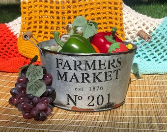 100% Cotton Market Bag, Reusable Tote, perfect for shopping and day trips