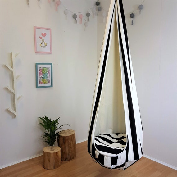 Cocoon Toddler Swing Indoor Hammock Chair Hanging Seat Black Etsy