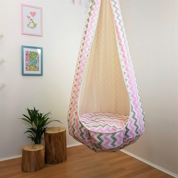 Indoor Swing Chair Hanging Seat Pink Hammock Chair Toddler Etsy