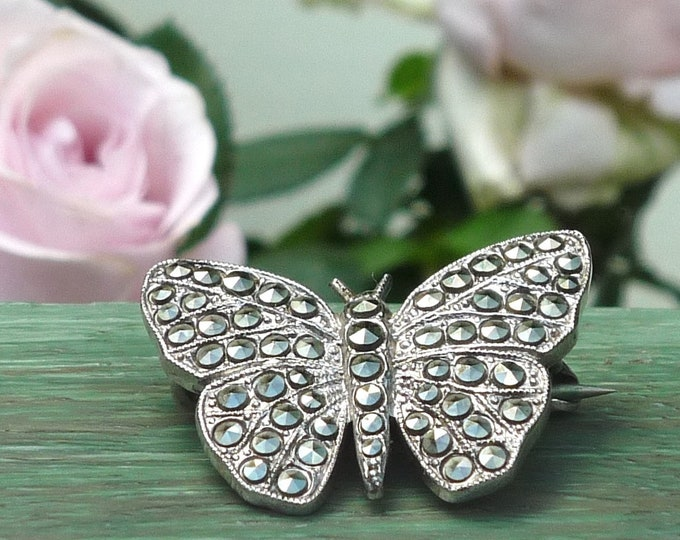 Vintage Silver & Marcasite Butterfly Lace-Pin or Tiny Brooch