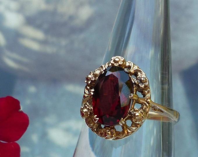 Bernard Instone Floral Gold Garnet Ring, Vintage Solitaire UK L, US 6