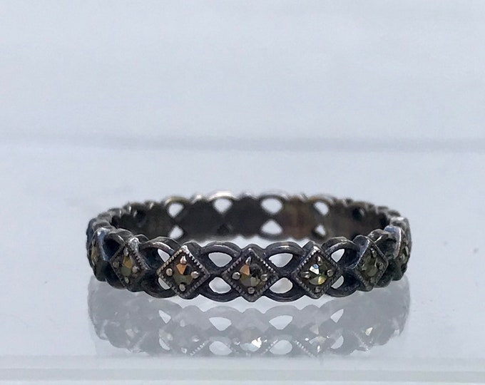 Antique Silver & Marcasite Eternity Band Ring, Medium Size UK N, 6.75