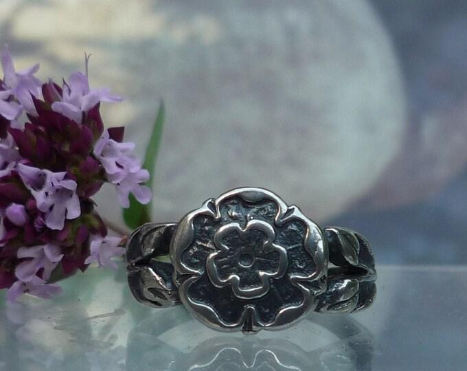 Vintage Bernard Instone Silver Jewellery, Floral Signet Ring Size L, O