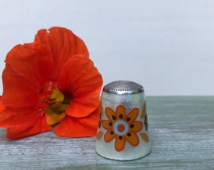 James Swann Sterling Silver & Guilloche Enamel Thimble Orange Flower