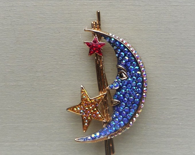 Butler & Wilson Brooch, Man in the Moon with Blue Diamante, Gold Toned Retro Costume Jewellery