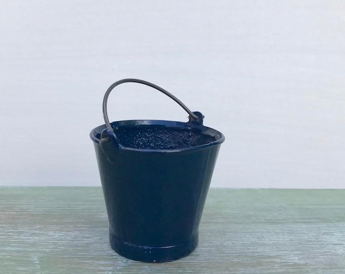 Vintage Britains Lead Miniature Galvanised Bucket, Blue Enamel Pail