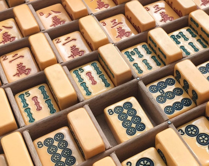 Mahjong Tiles, Bakelite Numbers Early Plastic Japanese Game Pieces