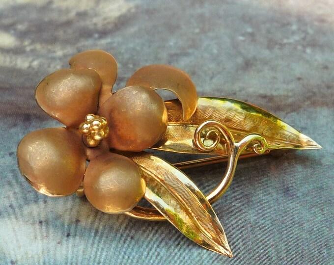 Bernard Instone 18 carat Gold & Enamel Floral Brooch, Birmingham 1962