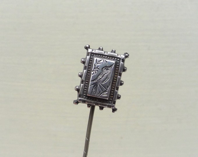 Antique Silver Bird Stick Pin Brooch, Victorian Sentimental Jewellery