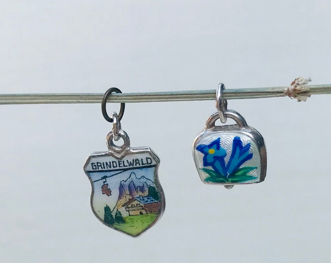 Souvenir Silver Charm of Grindelwald  Switzerland & Miniature Cowbell