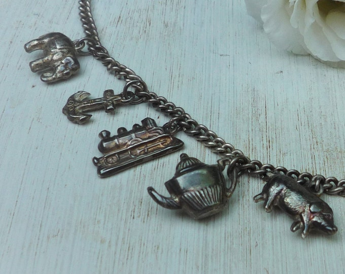 Vintage Silver Plated Charm Bracelet with Elephant, Anchor, Steam Train, Teapot, Pig & Bell Charms, Small Size