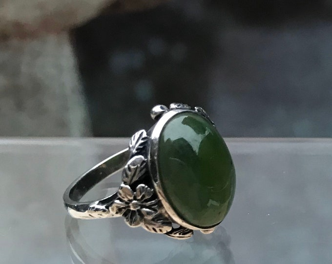 Vintage Green Chrysoprase & Silver Floral Ring, Bernard Instone Style