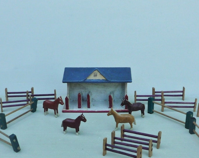 Vintage Erzgebirge Miniature Wooden Horses & Stable, Riding School