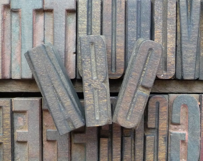 Vintage Upper Case Letterpress Wood Type Alphabet for Poster Printing