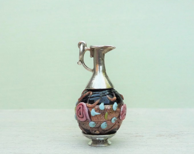 Vintage Jewellery Silver Charm, Miniature Venetian Glass Bead Pendant