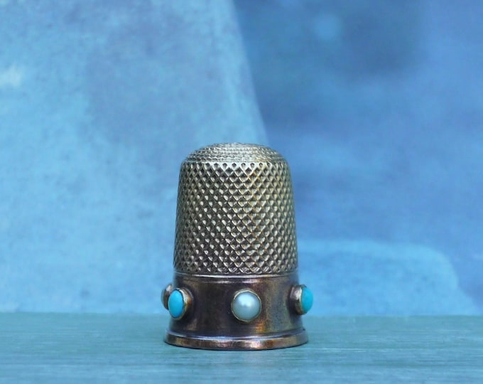 Antique 15ct Gold Thimble with Turquoise & Pearls, Victorian Christmas