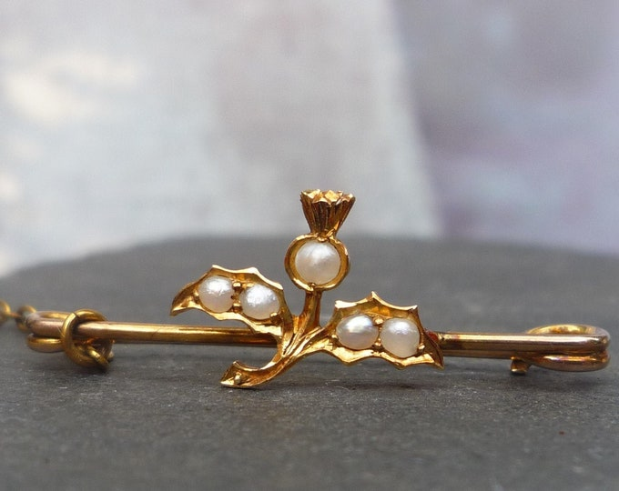 Antique Gold & Seed Pearl Scottish Thistle Tiny Brooch or Lace Pin
