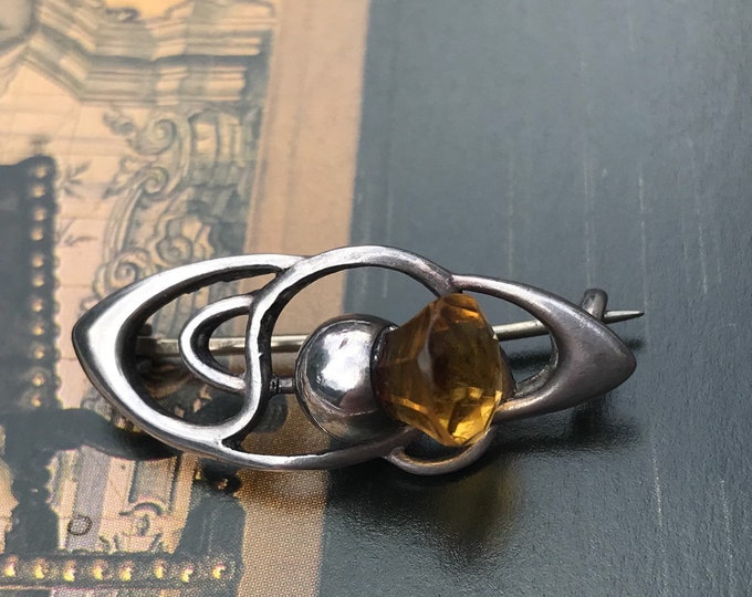 Charles Horner Amber Glass Thistle Brooch, Chester Sterling Silver