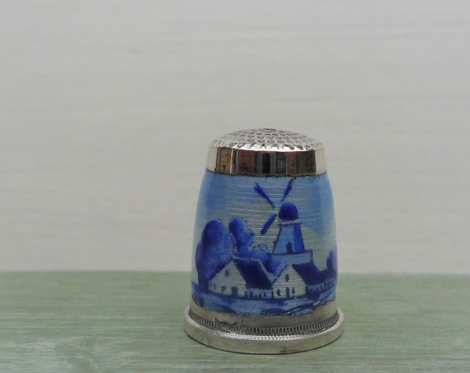 Guilloche Enamel Thimble Delft Style Windmill Vintage 935 Sterling