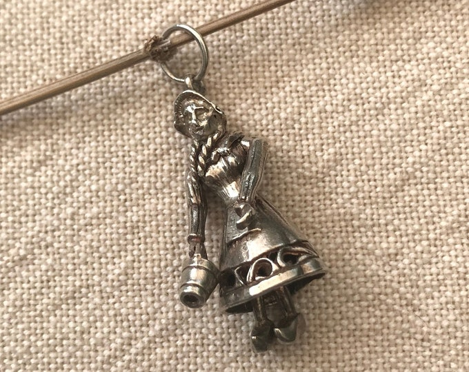 Vintage Silver Charm, Miniature Dutch Girl with Articulated Moving Parts Pendant, Traditional Costume