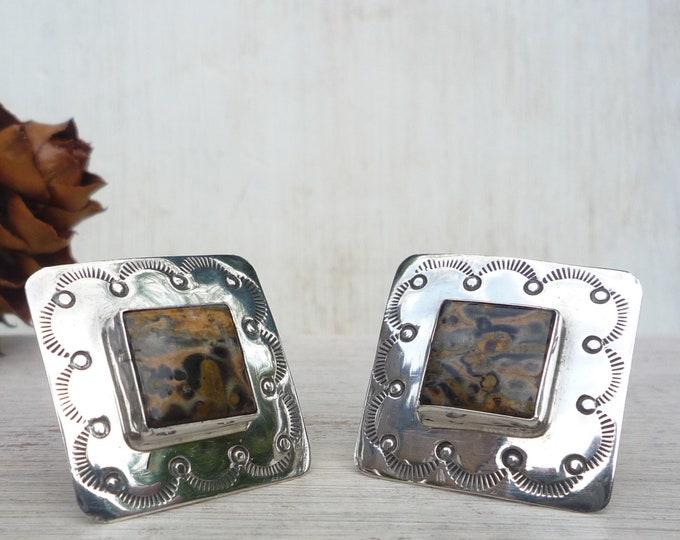 Sterling Silver & Brown Jasper Square Earrings, Mid Century Jewellery