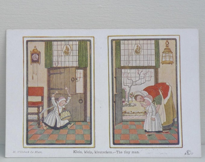 H Willebeek Le Mair Dutch Postcard, The Tiny Man, Klein Kleuterken