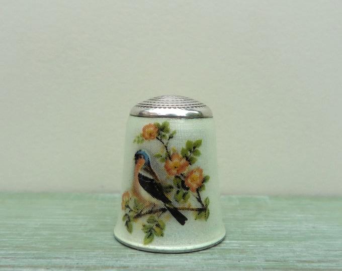 James Swann Bird Thimble, Silver Guilloche Enamel Chaffinch & Flower