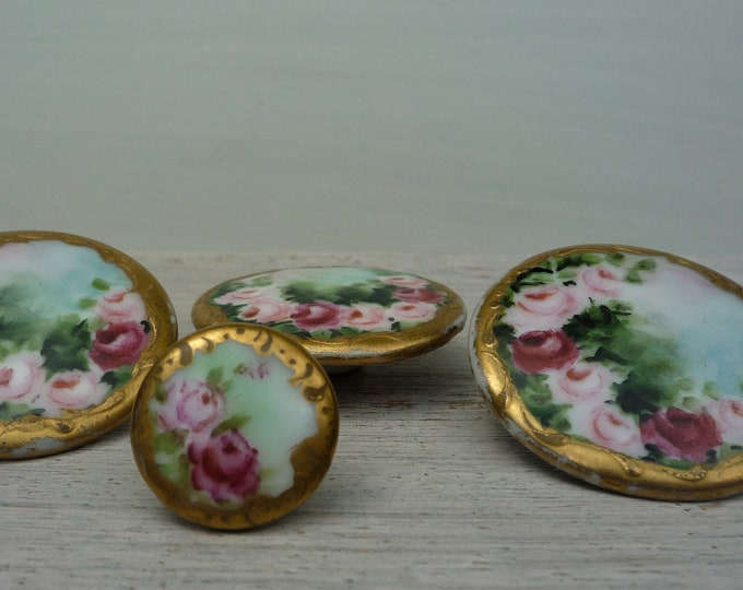 Large Victorian Porcelain Buttons with Hand Painted Roses and Gold Rim