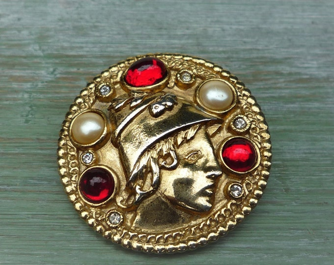 1980s Costume Jewellery Butler & Wilson Brooch, Hermes Greek God Head