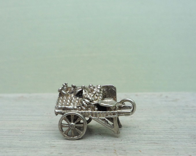 Vintage Silver Charm Fruit & Vegetable Cart, Tiny Pendant Jewellery