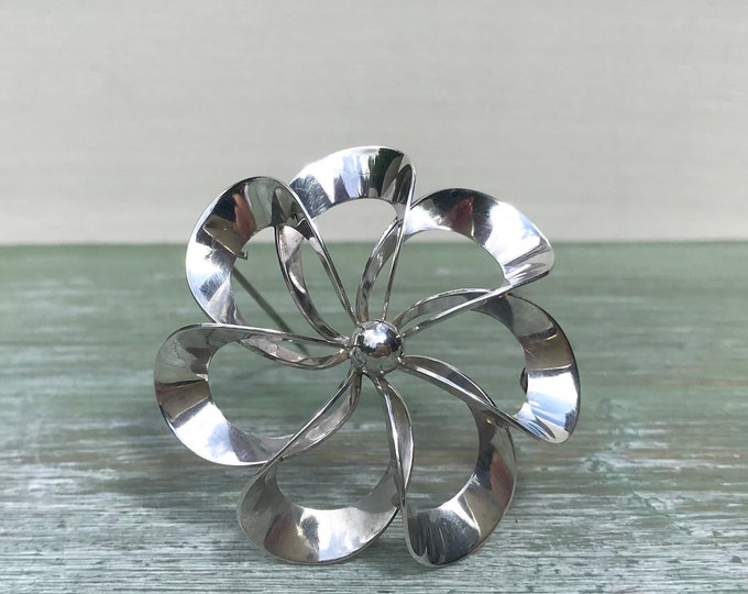 NE From Danish Sterling Silver Jewellery MidMod Large Flower Brooch