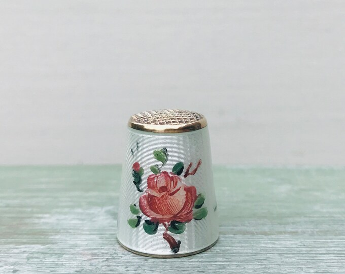Sterling Silver Thimble by David Andersen  with Gold Wash & Guilloche Enamel Pink Rose Design, Vintage Sewing from Norway