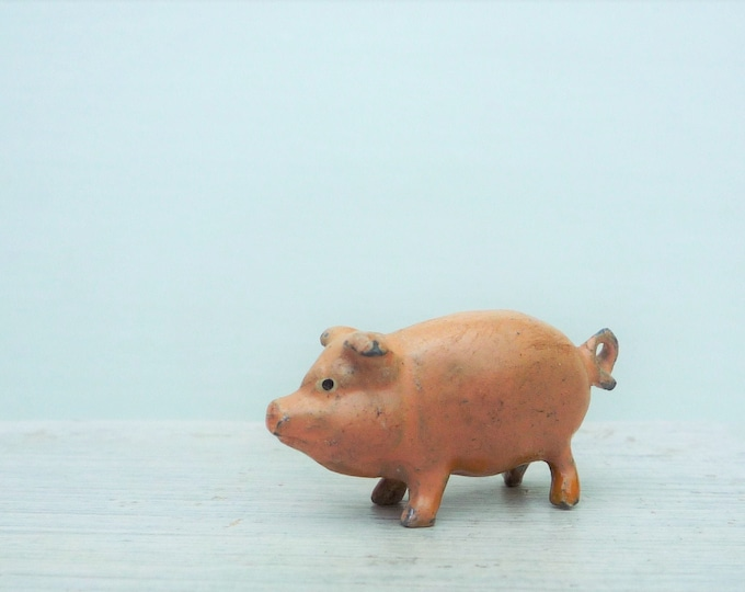 Vintage Miniature Lead or Cold Painted Bronze Pig, Tiny Animal Figure