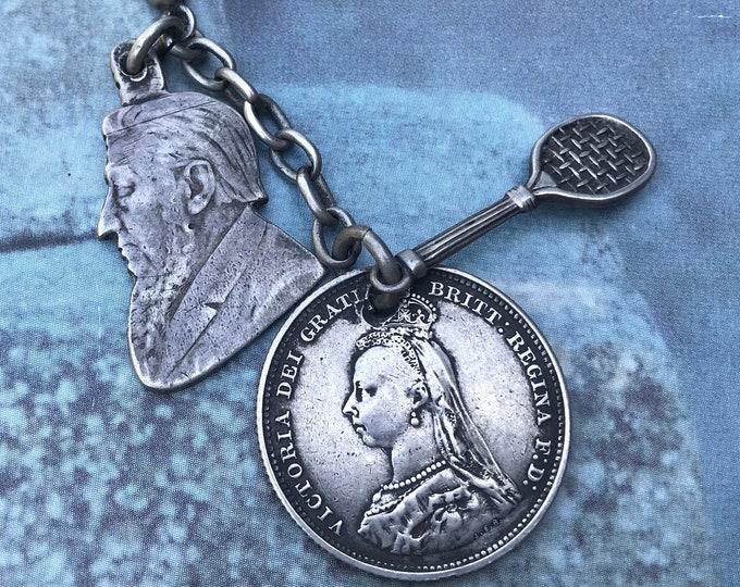 Antique Silver Curios, Queen Victoria Coin, Miniature Tennis Racket