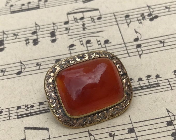 Victorian Jewellery, Carnelian Pinchbeck Brooch with Engraved Swirls,