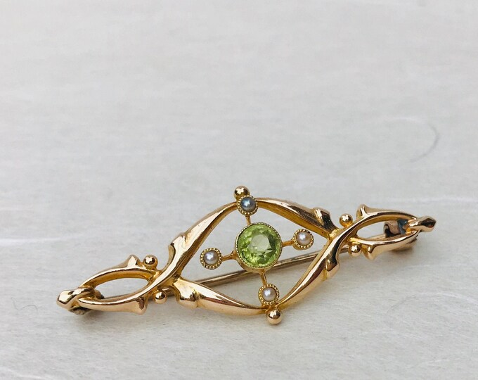 Antique 15ct Gold Peridot & Seed Pearl Brooch Art Nouveau Jewellery
