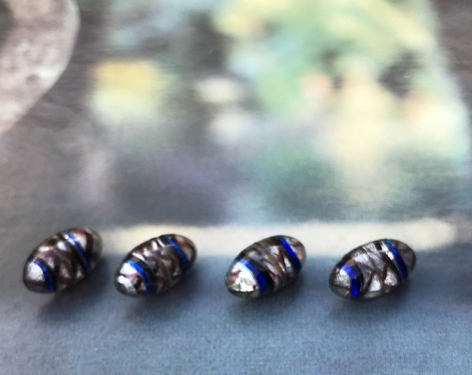Vintage Small Glass Buttons, Oval with Blue, Brown & Gold Bands on Silver Foil, 12 mm, 1/2""