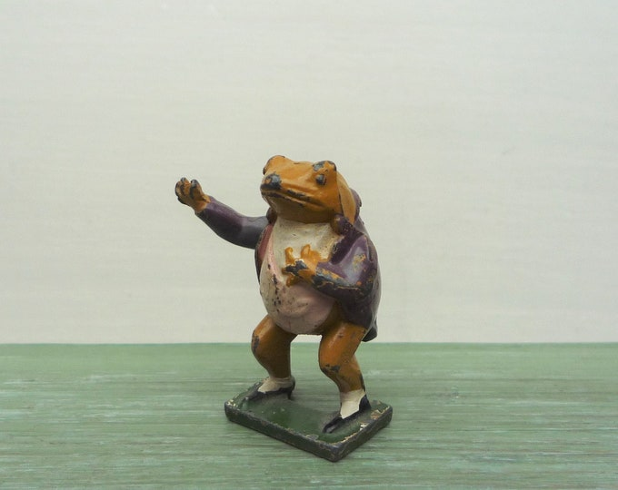 Vintage Timpo Beatrix Potter Lead Frog Figure, Miniature Jeremy Fisher