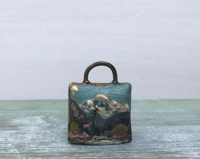 Vintage Miniature Enamel Swiss Cowbell, Souvenir of Switzerland, Hand Painted Pendant or Ornament