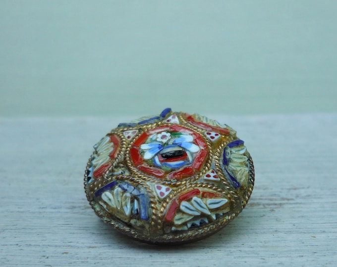 Vintage Green Millefiori and Micro Mosaic Brooch, Italian Floral Pin