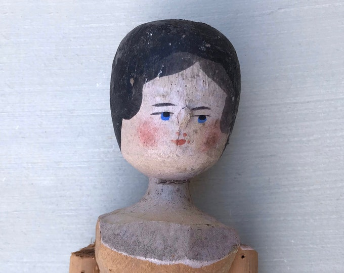 "Vintage Grodnertal Peg Wooden Doll, 12"" Jointed Wood Penny Dutch Doll"