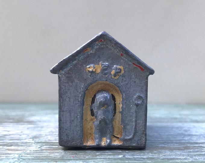 Miniature Dog & Kennel, Rare Vintage Farm or Garden Figure, Pep