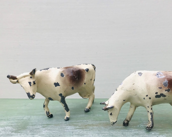 Philip Segal Miniature Lead Farm Feeding Cow & Cow with Turned Head