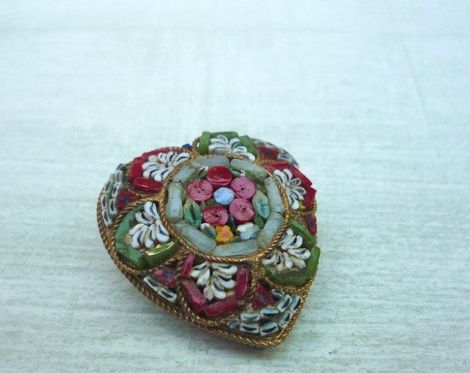 Vintage Millefiori & Micro Mosaic Heart Brooch, Christmas Jewellery