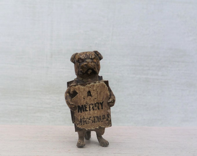 Antique Cold Painted Heyde Pug Dog, Christmas Miniature Vienna Bronze